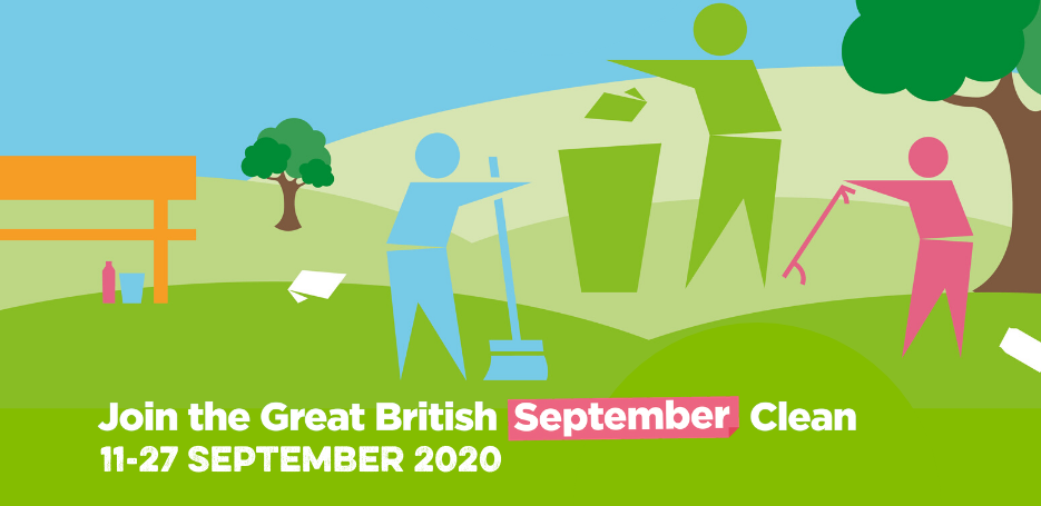 Image banner showing the keep Britain tidy logo cleaning a park